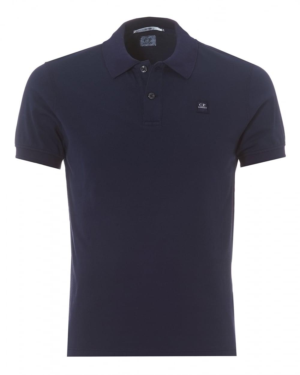C p company mens plain indigo blue regular fit logo polo shirt for Polo shirt with company logo