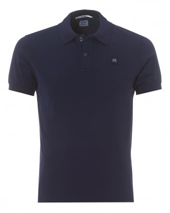Mens Plain Indigo Blue Regular Fit Logo Polo Shirt