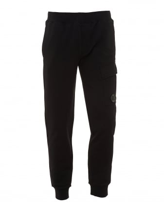 Mens Pocket Lens Trackpants, Relaxed Fit Black Sweatpants