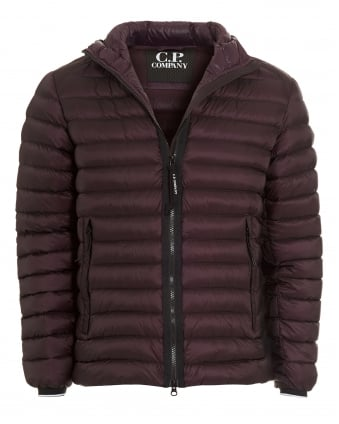 Mens Puffa Jacket, Goggle Hood Purple Quilted Coat
