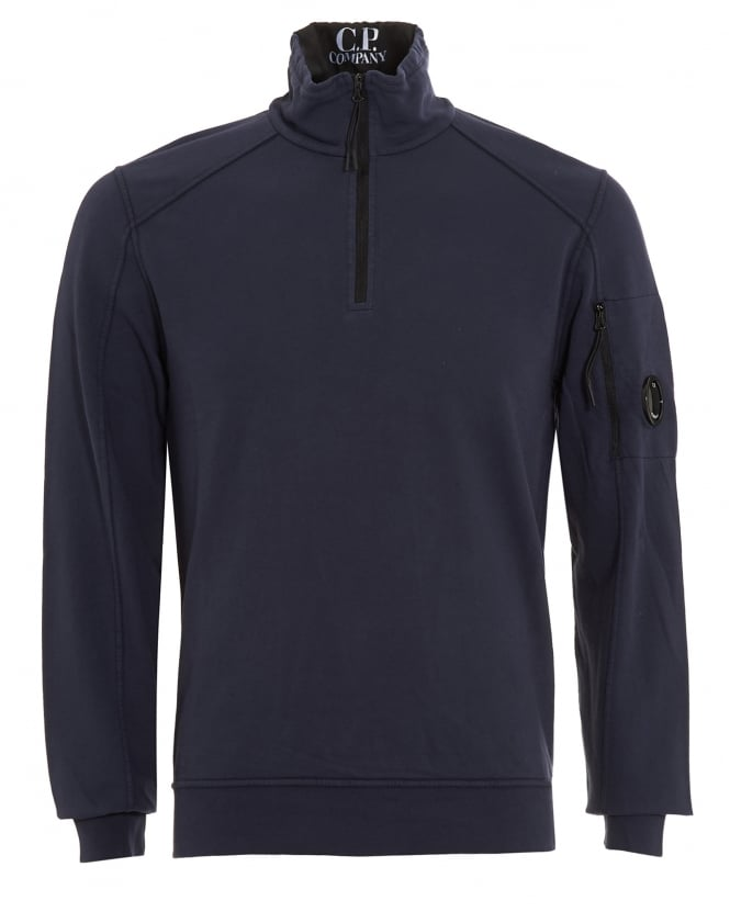 C.P. Company Mens Quarter Length Zip Lens Pocket Navy Blue Sweatshirt