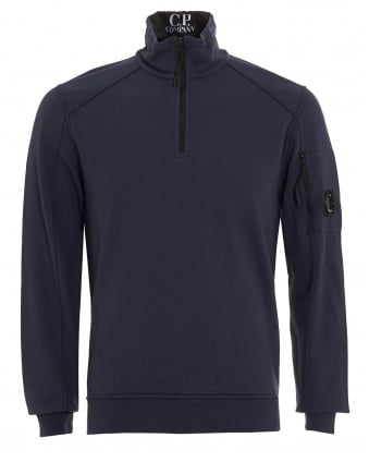 Mens Quarter Length Zip Lens Pocket Navy Blue Sweatshirt