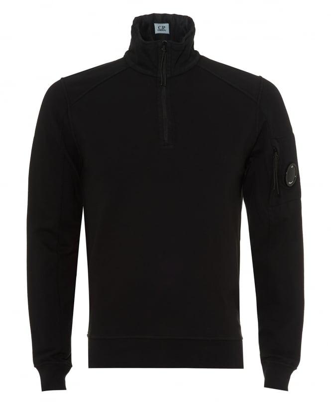 Repertoire Fashion C.P. Company Mens Quarter Zip Sweatshirt, Arm Lens Black Jumper
