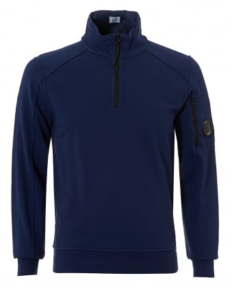 Mens Quarter Zip Sweatshirt, Arm Lense Blue Jumper