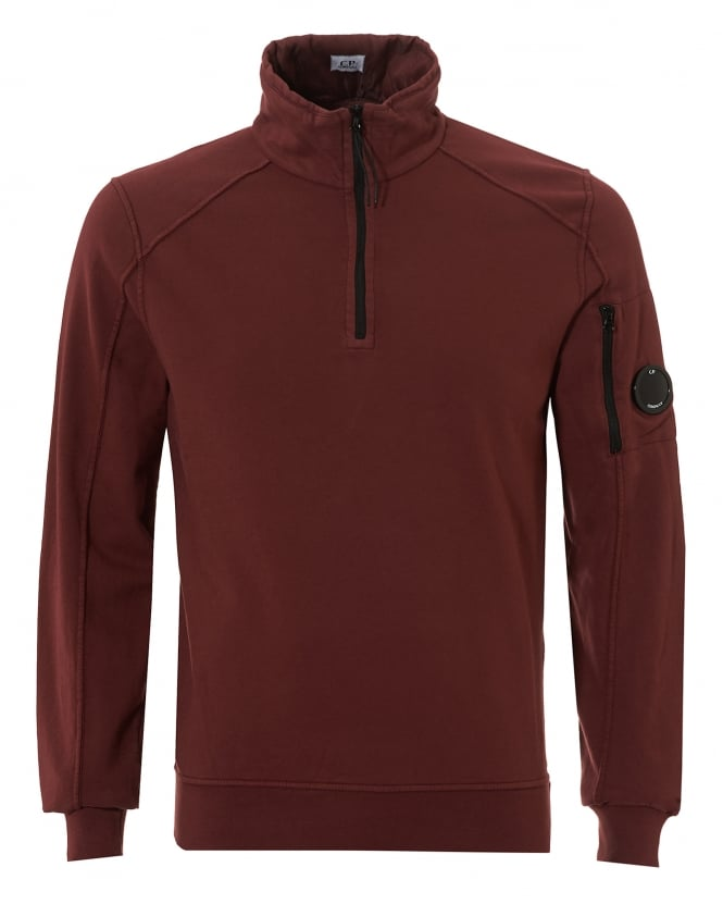 C.P. Company Mens Quarter Zip Sweatshirt, Arm Lense Bordeaux Jumper