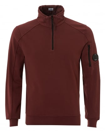 Mens Quarter Zip Sweatshirt, Arm Lense Bordeaux Jumper