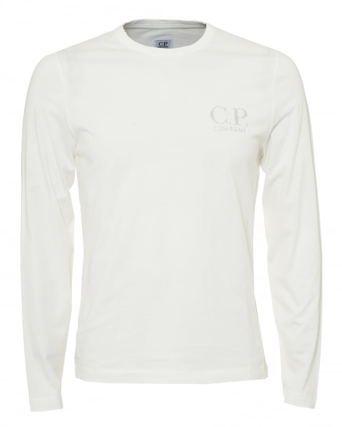 C.P. Company Mens Reflective Logo T-Shirt, Long Sleeve White Tee