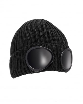 Mens Ribbed Knit Goggle Black Beanie Hat