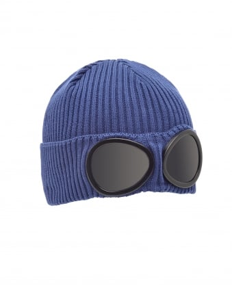 Mens Ribbed Knit Goggle Blue Beanie Hat