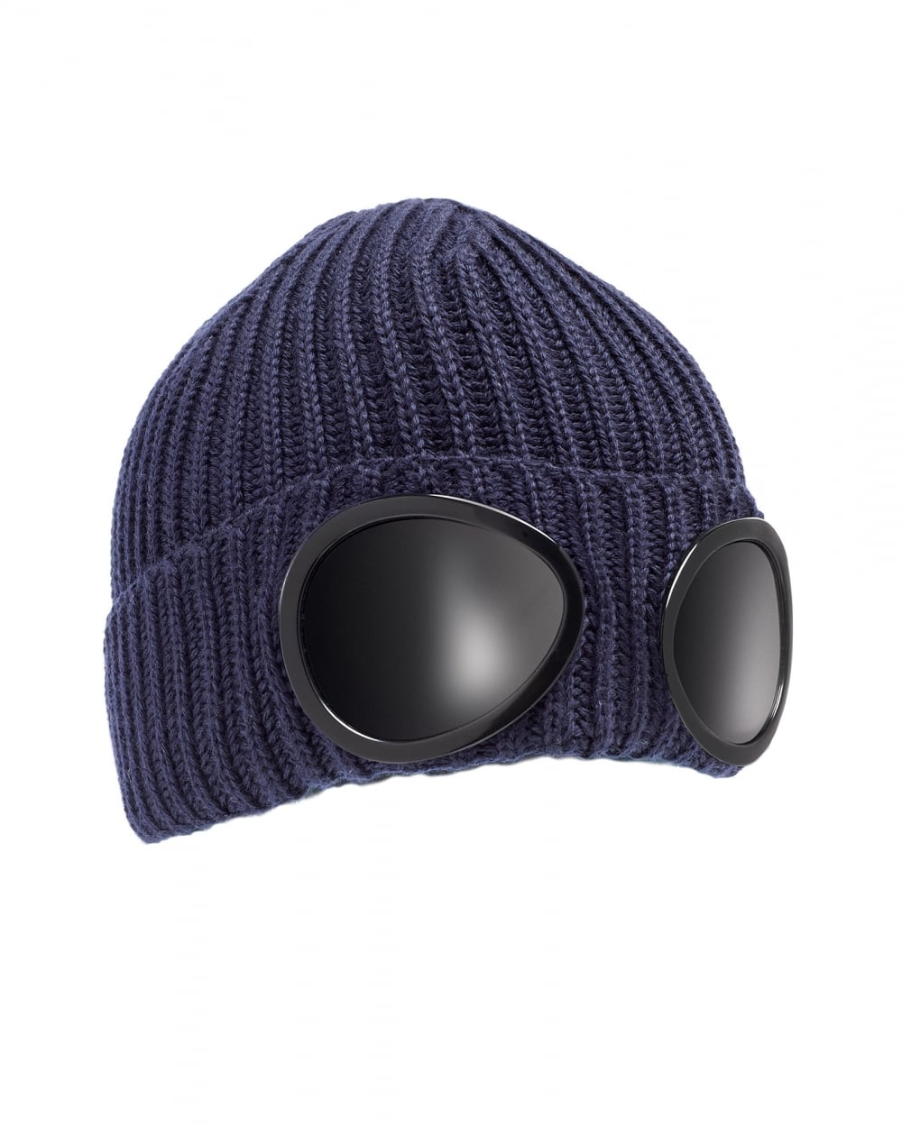 C.P. Company Mens Ribbed Knit Goggle Navy Blue Beanie Hat f9a95403922