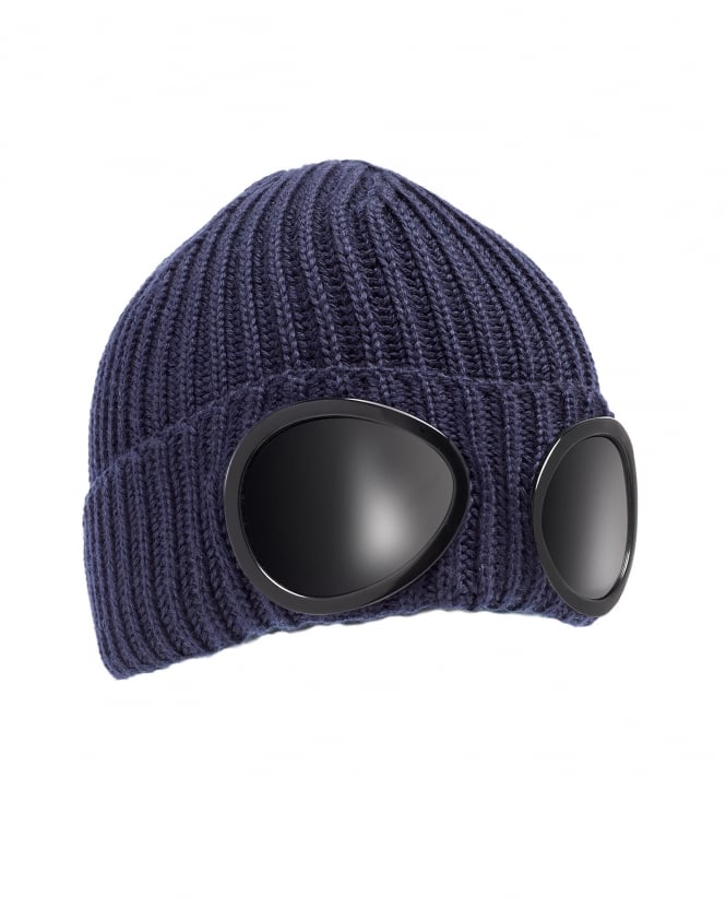 C.P. Company Mens Ribbed Knit Goggle Navy Blue Beanie Hat