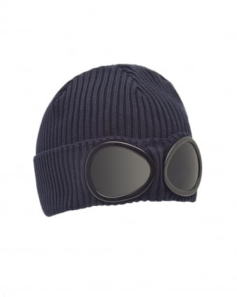Mens Ribbed Knit Goggle Navy Blue Beanie Hat