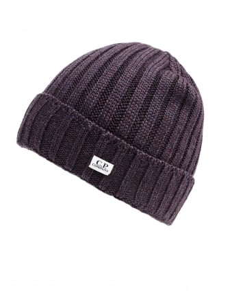Mens Ribbed Label Aubergine Beanie Hat