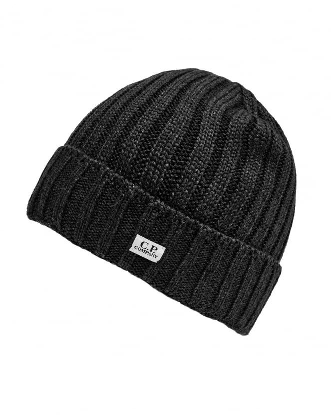 C.P. Company Mens Ribbed Label Black Beanie Hat