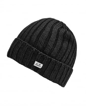 Mens Ribbed Label Black Beanie Hat