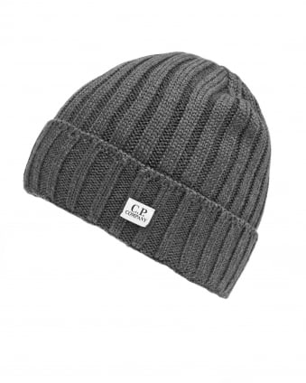 Mens Ribbed Label Grey Beanie Hat