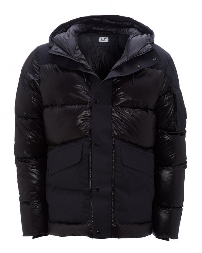 C.P. Company Mens Shell Mixed Panel Puffer Jacket, Black Down Coat