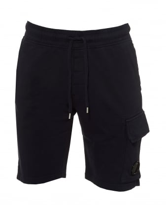 Mens Sweat Shorts, Lens Badge Eclipse Navy Blue Cargo Shorts