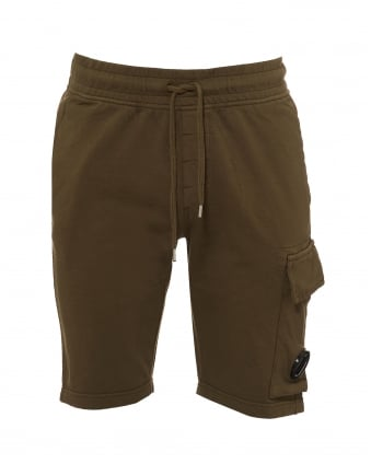 Mens Sweat Shorts, Lens Badge Olive Green Cargo Shorts