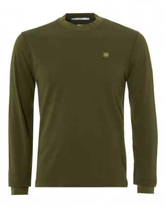 Mens Sweat T-Shirt, Long Sleeve Patch Logo Olive Tee