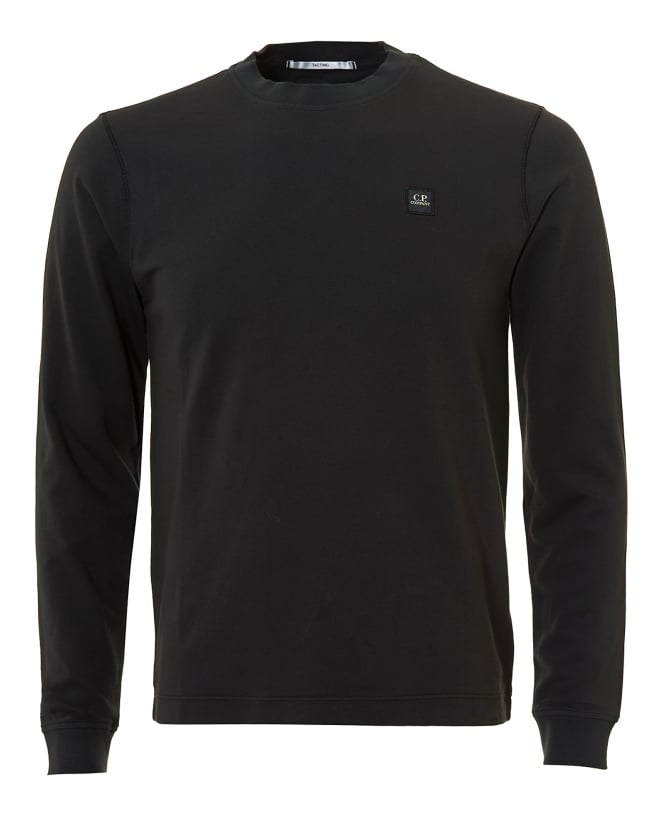 C.P. Company Mens Sweat T-Shirt, Long Sleeve Patch Logo Washed Navy Tee