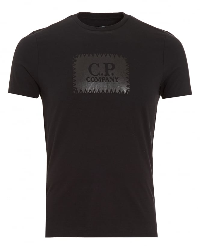 C.P. Company Mens T-Shirt, Block Stamp Logo Black Tee