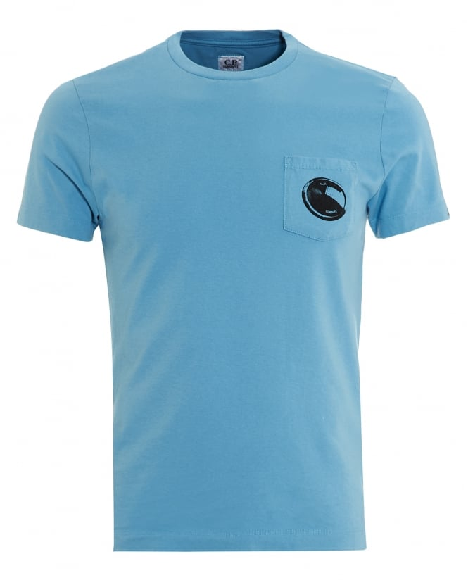 C.P. Company Mens T-Shirt, Blue Pocket Goggle Lens Tee