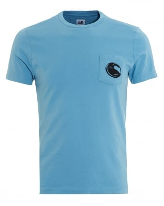 Mens T-Shirt, Blue Pocket Goggle Lens Tee