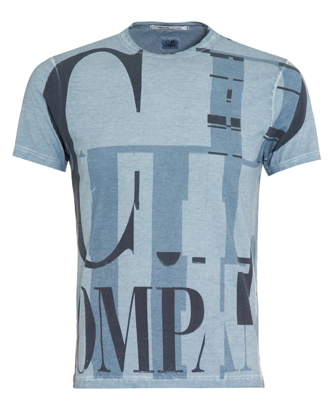 C.P. Company Mens T-Shirt, Letter Glitch Blue Logo Tee