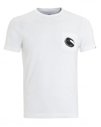 Mens T-Shirt, White Pocket Goggle Lens Tee
