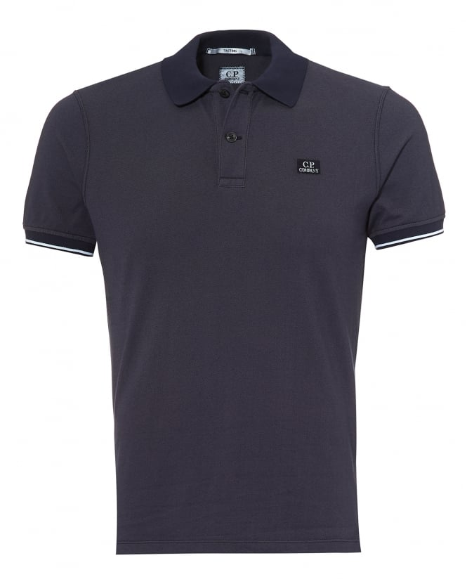 C.P. Company Mens Tipped Polo Shirt, Chest Patch Logo Eclipse Navy Polo