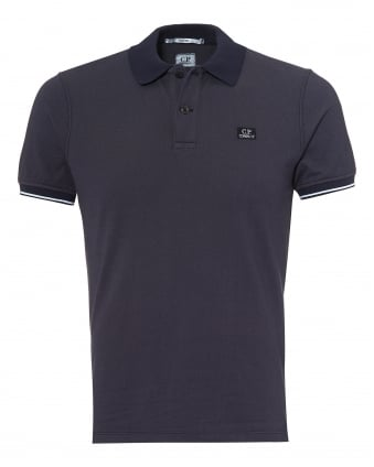 Mens Tipped Polo Shirt, Chest Patch Logo Eclipse Navy Polo