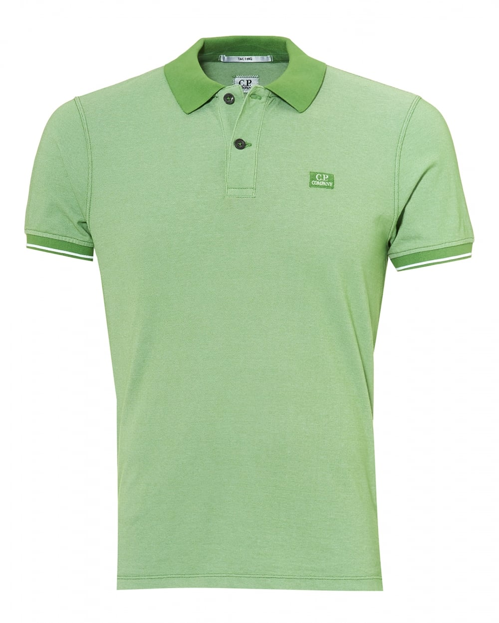 C P Company Mens Tipped Polo Shirt Chest Patch Logo Kiwi Green