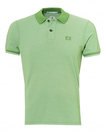 Mens Tipped Polo Shirt, Chest Patch Logo Kiwi Green Polo