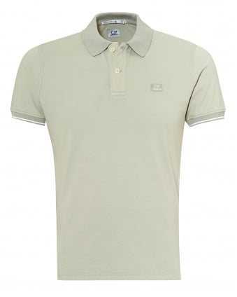 Mens Tipped Polo Shirt, Chest Patch Logo Stone Polo