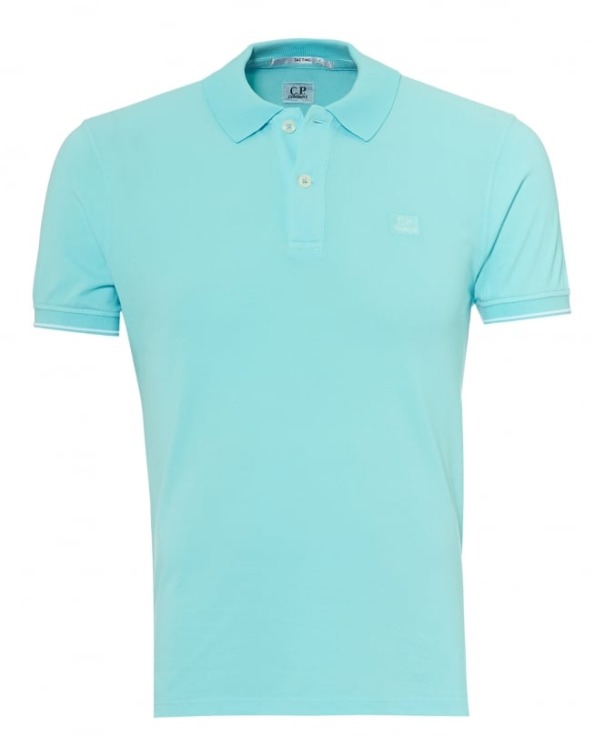 C.P. Company Mens Tipped Polo Shirt, Chest Patch Logo Turquoise Polo