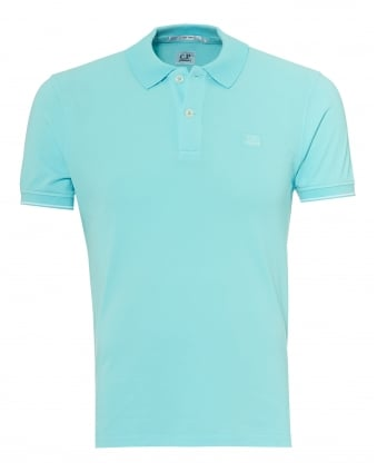 Mens Tipped Polo Shirt, Chest Patch Logo Turquoise Polo