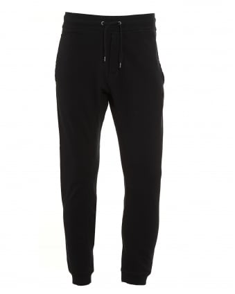 Mens Tonal Stitch Plain Black Trackpant