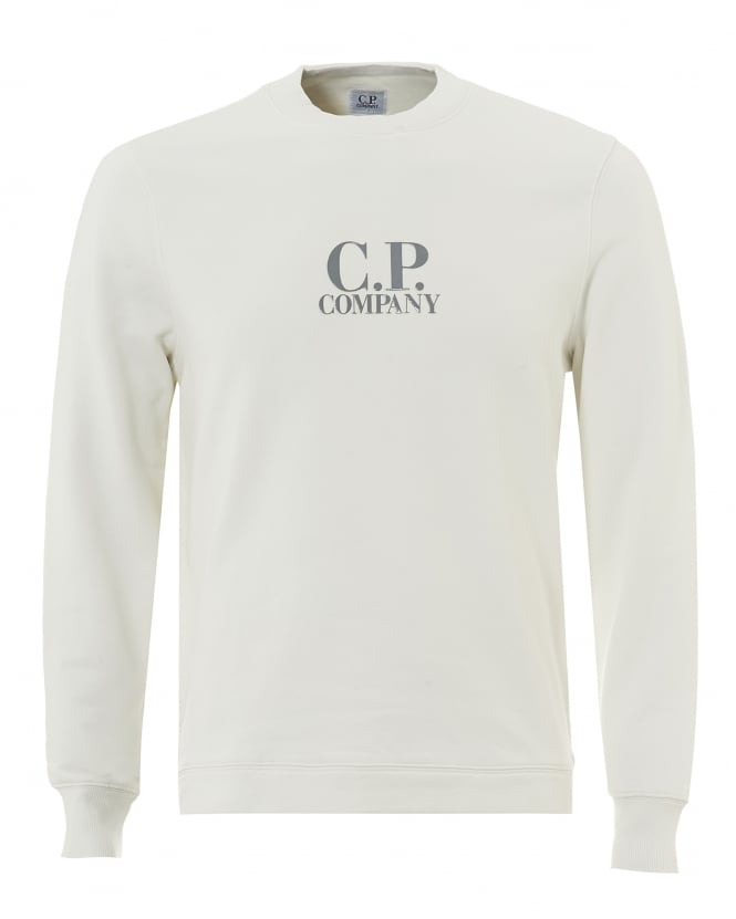 C.P. Company Mens White Regular Fit Logo Fleece Sweatshirt