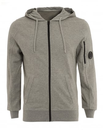 Mens Zip Hoodie, Arm Lens Detail Grey Sweatshirt