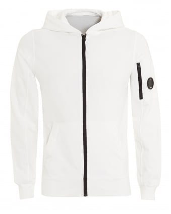 Mens Zip Hoodie, Arm Lens Detail White Sweatshirt