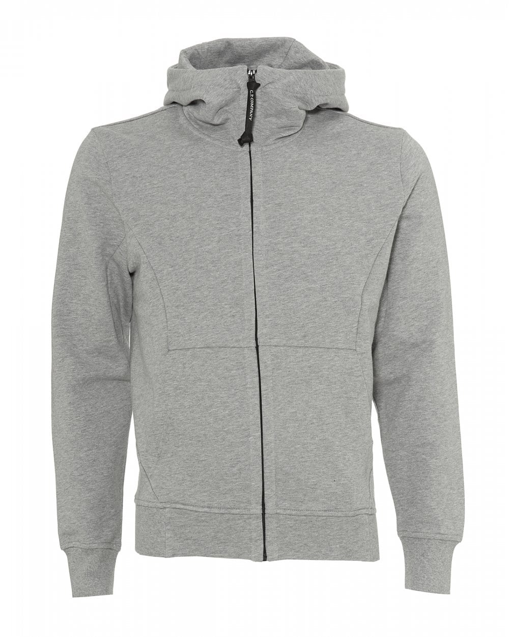 fb06cebe C.P. Company Mens Zip Up Hoodie, Goggle Hood Grey Sweatshirt