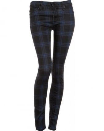 Cadet Punk Black & Blue Plaid 'Nico' Super Skinny Jean