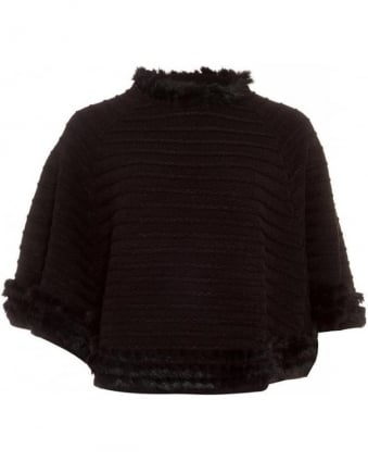 Cape, Black Knitted Fur Trim Poncho