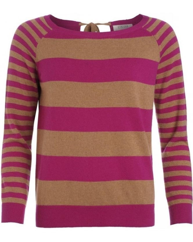 Cocoa Cashmere Caramel And Cyclamen Striped Jumper