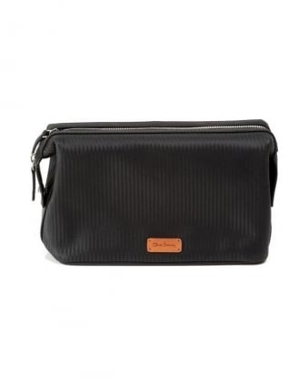 Carbon Fibre Black 'Cambes' Leather Wash Bag