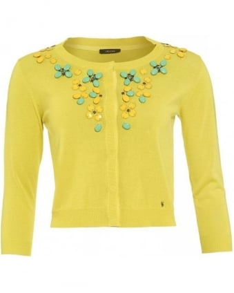Cardigan, Citron Yellow 'Nabil' Jewel Knit