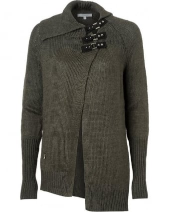 Cardigan, Grey Buckle Collar Chunky Knit