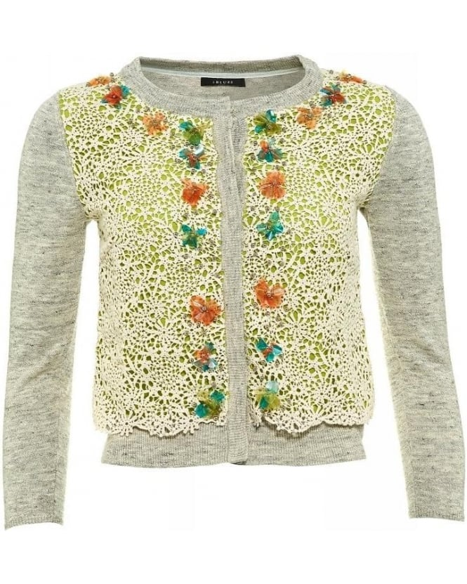 I Blues Cardigan Grey Lace Floral 'Gitano' Knitwear