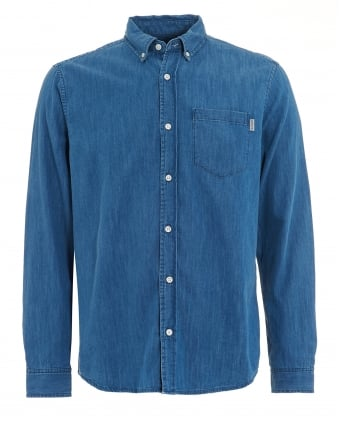 Mens Civil Denim Blue Stone Washed Shirt